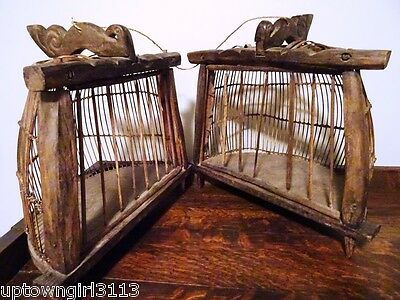 OCEANIC Lombok Island Indonesia DOUBLE BIRD CAGE Handmade Wood BALI rare TRIBAL