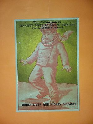 1800's VICTORIAN TRADE CARD, Dr. Morses compound syrup yellow dock root blood