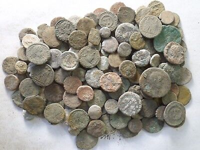 Lot of 100 Very Low Quality Uncleaned Ancient Roman & Greek Coins; 261.1 Grams!!