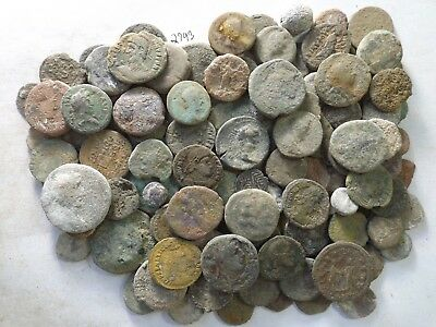 Lot of 100 Very Low Quality Uncleaned Ancient Roman & Greek Coins; 329.5 Grams!!