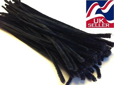 10 - 1000 BLACK chenille craft stems pipe cleaners 30cm long, 6mm wide