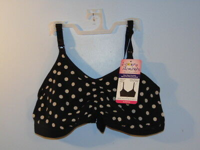 Loving Moments By Leading Lady Black Polka Dot Nursing Bra Sz: Xl