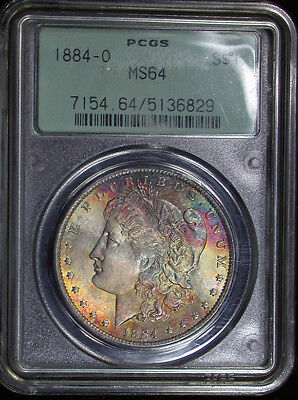 1884 o PCGS MS64 Colorful Toned Morgan Dollar OGH (hb1278)