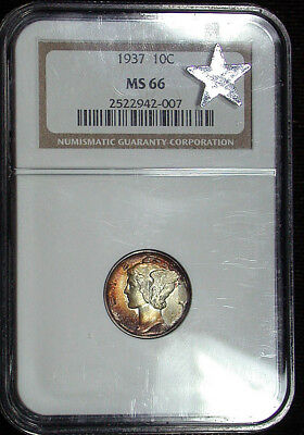 1937 NGC MS66 Colorful Toned Mercury Dime (hb1272)