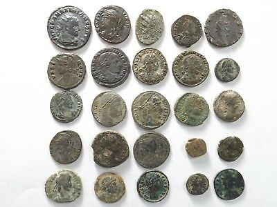 Lot of 25 Ancient Late Roman Coins; Maximian, Constantine...; 50.4 Grams!!