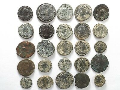 Lot of 25 Ancient Late Roman Coins; Constantine, Constantius Gallus; 81.0 Grams!