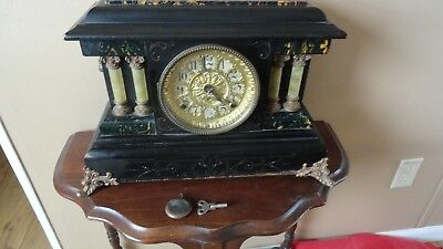 Antique Seth Thomas Four Pillar Adamantine Mantle Clock, Label #295F