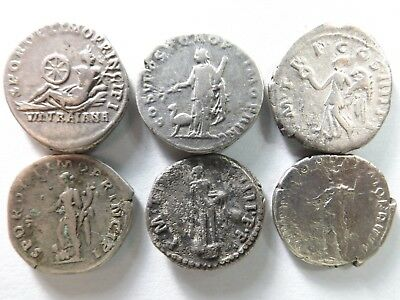 Lot of 6 Higher Quality Ancient Roman Silver Coins; Trajan...; 17.5 Grams!