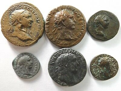 Lot of 6 Quality Ancient Roman Coins; Trajan...; 38.2 Grams!