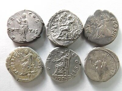 Lot of 6 Quality Ancient Roman Silver Coins; Hadrian...; 16.1 Grams!