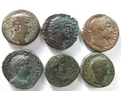 Lot of 6 Quality Ancient Roman Coins; Hadrian...; 61.4 Grams!