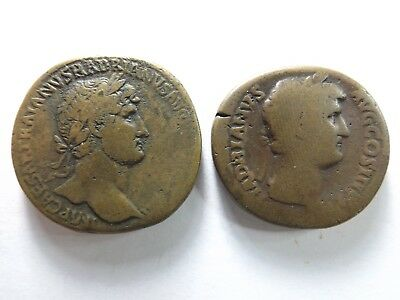 Lot of 2 Quality Ancient Larger Roman Coins; Hadrian...; 48.7 Grams!