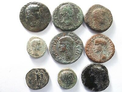 Lot of 9 Low Quality Ancient Roman Coins; Nero, Caligula, Agrippa..; 71.0 Grams!
