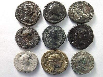 Lot of 9 Ancient Roman Coins; Fouree, Billon & Limes...; 22.6 Grams!
