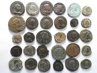 Lot of 30 Lower Quality Ancient Roman Coins; Valerian, Salonina...; 91.5 Grams!