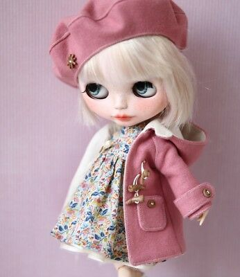 Blythe Set 3 teilig Outfit Mantel, Kleid, Baskenmütze, Doll Puppe Pure Neemo S
