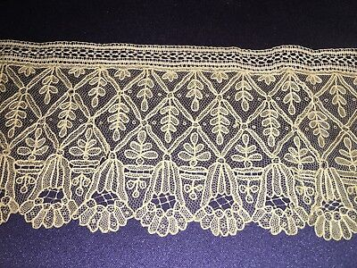 "Antique 19C Handmade Needle Lace Point de Gaze Trim 2 5/8"" by 29"" Tulips"