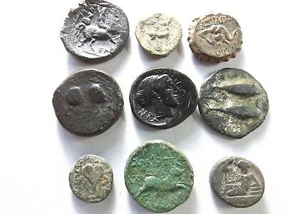Lot of 9 Higher Quality Ancient Greek Coins; Horse, Bee, Elephant..; 38.0 Grams!