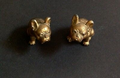 Miniature Antique pair of Brass French Bulldog / Pug Dogs Collectible
