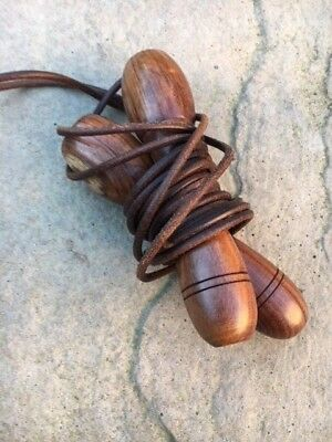 Traditional Boxing Skipping Rope Leather Wooden Handles Adjustable Speed Ropes