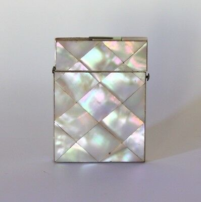 Antique 19Th Century Mother Of Pearl And Marine Shell Card Case