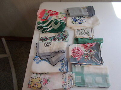 Vintage Estate Lot #1 Floral Hankies Cutter Craft Hankerchiefs Flaws