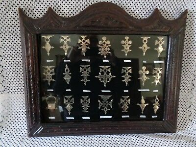 Rare Framed Collection 21 Silver TUAREG Crosses of Niger w Tribes They Represent