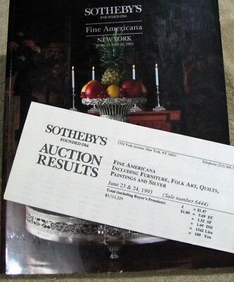 Sotheby's Fine Americana New York  July 23 24 1993 catalog w/ Auction Results