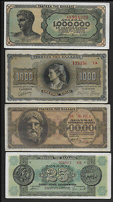 5   GREECE, PAPER MONEY  BANKNOTES  COLLECTION   from  1939 to 1944