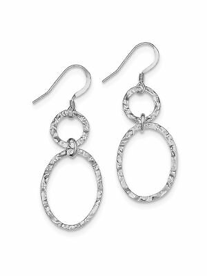 925 Sterling Silver Larger Beaded Ovals Dangle Earrings - 19x49mm 4grams