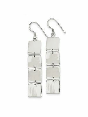 925 Sterling Silver 4 Flat Squares Dangle Earrings - 12x68mm 4.36grams