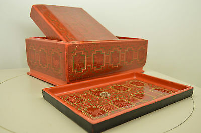 Large Burmese Lacquerware lacquer jewellery box with tray