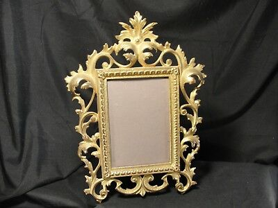 Large Victorian Antique Patinated Brass Cast Iron Swing Arm Picture Frame Ornate