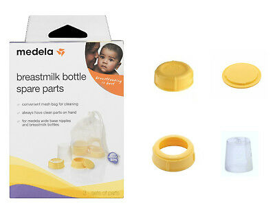 MEDELA Breastmilk Bottle Spare Parts Kit Collar Ring Disc Cap Lid Choose NEW