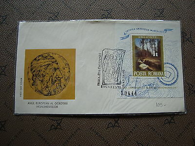 ROMANIA envelope 26/6/75 -stamp Yvert and Tellier bloc n°119 (cy2)