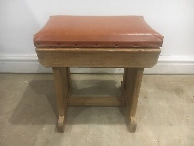 Recently Restored Victorian Sewing Stool in oak wood with Brown leather seat.