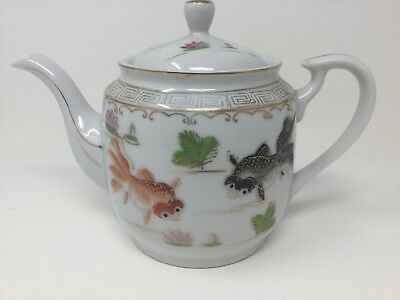 Antique Vintage Chinese Hand Painted Teapot Koi Fish