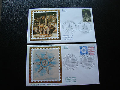 FRANCE - 2 envelopes 1st day 1977 (cath bayeux/parl lang franca) (cy79) french