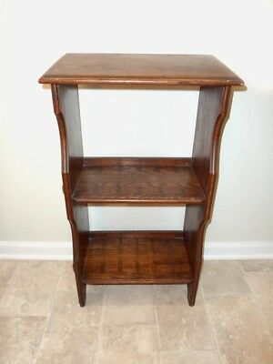 OAK BOOKCASE - Small Stickley Mission Style Slant Top Pegged Open Display Shelf