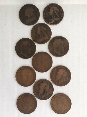 Lot of 11 Great Britain Victoria Edward VII George V + VI Penny Coins 1896-1937
