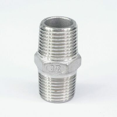 """3/8"""" BSP Male  Hex Nipple Union 304 SS Pipe Fitting Connector Coupler water oil"""