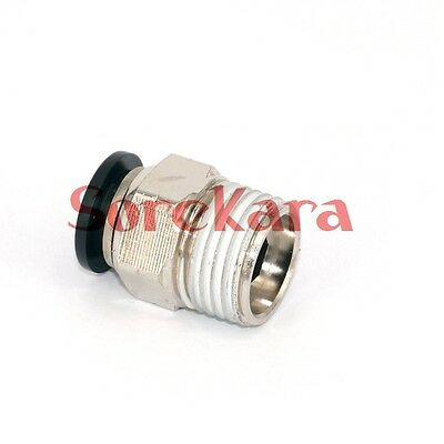 """Lot of 5 3/8"""" Tube Push in Fitting to 3/8"""" NPT Male Straight Air Connector"""