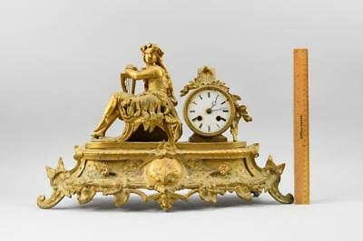 1860 French Large Gilt Metal Figural Mantel Clock Working No Reserve