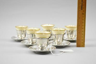 Set Of 6 Demitasse Sterling Silver Cups & Saucers W/ Lenox Inserts No Reserve