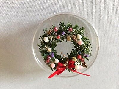 """Dollhouse Miniature """"Christmas"""" Wreath with Red Bow"""