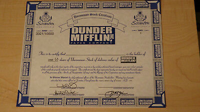 The Office Dunder Mifflin Certificate Limited Edition Given at Office 2007 Con