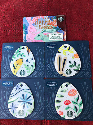 5 New Starbucks Easter 2018 Gift Cards Lot Die Cut Shaped Eggs Limited