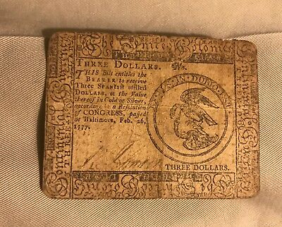 Baltimore feb 1777 , three dollars contential currency  , VF