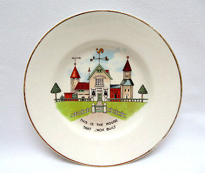 """Vtg Mother Goose England Child's Miniature Nursery Rhyme Plate """"House that Jack"""""""