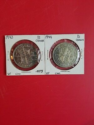 1943,1944 LOT OF (2) Great Britain Silver 1/2 Crown. KM #856 Very Nice LOT!!!